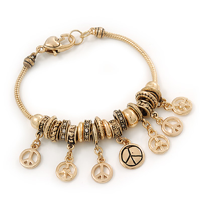 Gold Plated Peace Charm &#039;Heiwa&#039; Bracelet - 19cm Length