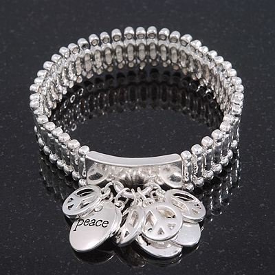 Silver Plated Charm &#039;Peace&#039; Flex Bracelet - 19cm Length