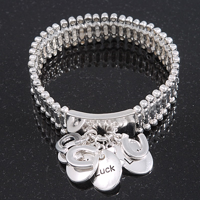 Silver Plated Charm &#039;Horseshoe &amp; Luck&#039; Flex Bracelet - 19cm Length