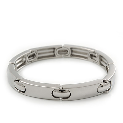Unisex Rhodium Plated Contrasting Rectangular Matte & Polished Station Stretch Bracelet