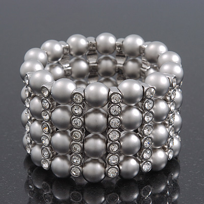 Wide Matt Silver Bead/Crystal Flex Bracelet - 18cm Length