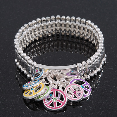 Silver Plated Multicoloured &#039;Peace&#039; Charm Flex Bracelet - 19cm Length