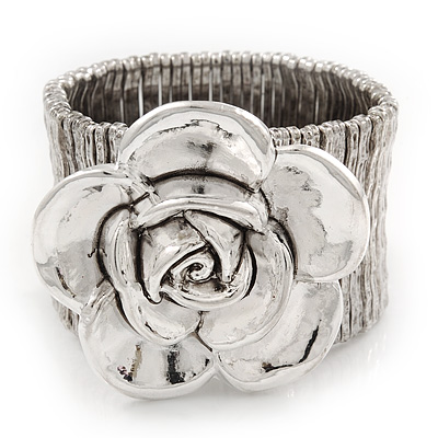 Large 'Daisy' Floral Flex Bracelet In Silver Plating - 19cm Length