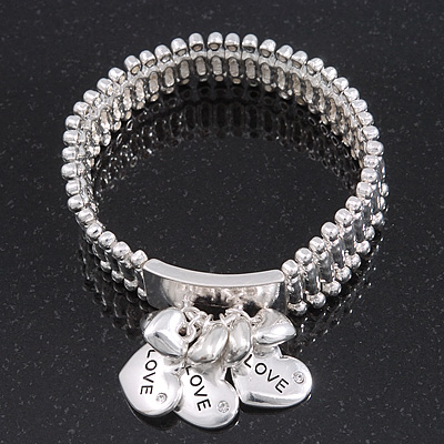 Silver Plated &#039;Love&#039; Heart Charm Flex Bracelet - 19cm Length
