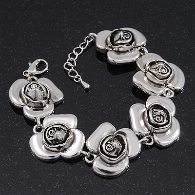 Silver Plated &#039;Rose&#039; Bracelet - 17cm Length/ 3cm Extension