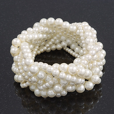 Chunky Multistrand White Glass Pearl Flex Bracelet - 20cm Length
