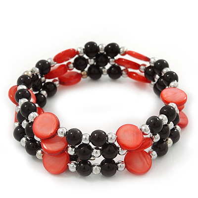 Acrylic & Shell Bead Coil Flex Bangle Bracelet (Red and Black) - Adjustable - main view