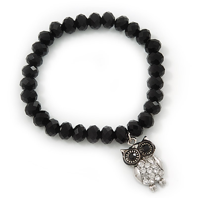 Black Glass Bead &#039;Owl&#039; Flex Bracelet - 19cm Length