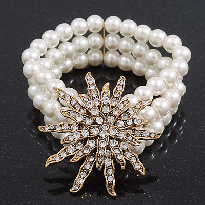Multistrand White Glass Pearl 'Star' Flex Bracelet - up to 20cm Length