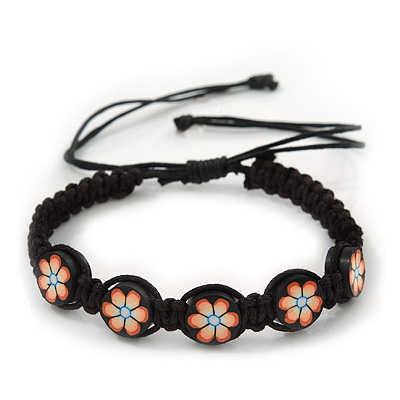 Peach/Black Floral Wooden Friendship Style Cotton Cord Bracelet - Adjustable