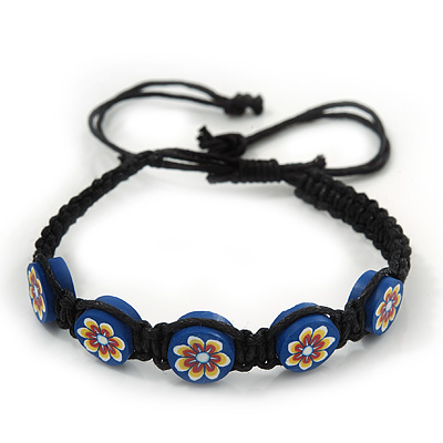 Blue/Black Floral Wooden Friendship Style Cotton Cord Bracelet - Adjustable