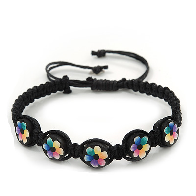 Multicoloured/Black Floral Wooden Friendship Style Cotton Cord Bracelet - Adjustable