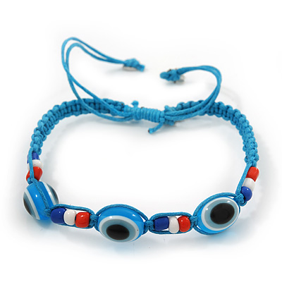 Evil Eye Acrylic Bead Protection Friendship Cord Bracelet In Light Blue - Adjustable