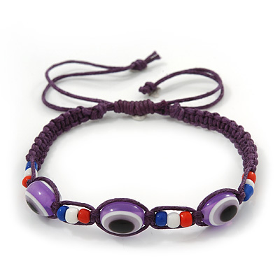 Evil Eye Acrylic Bead Protection Friendship Cord Bracelet In Purple- Adjustable