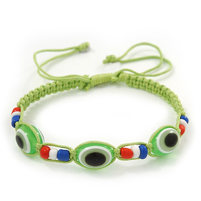 Evil Eye Acrylic Bead Protection Friendship Cord Bracelet In Lime Green - Adjustable
