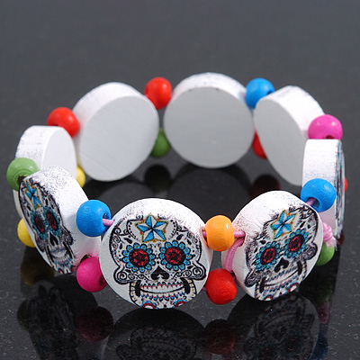 White Wooden 'Mexican Candy Skull' Flex Bracelet - Adjustable