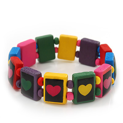 Multicoloured Wooden &#039;Heart&#039; Flex Bracelet - Adjustable