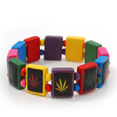 Multicoloured Wooden 'Hemp Leaf' Stretch Bracelet - Adjustable