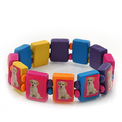 Multicoloured Wooden &#039;Dog&#039; Stretch Bracelet - Adjustable
