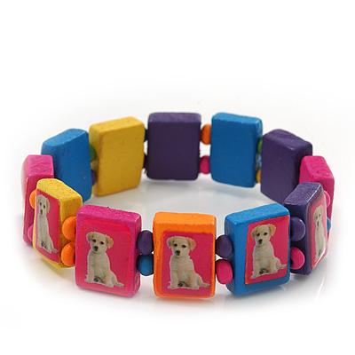 Multicoloured Wooden 'Dog' Stretch Bracelet - Adjustable