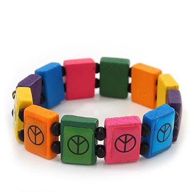 Multicoloured Wooden 'Peace' Flex Bracelet - Adjustable