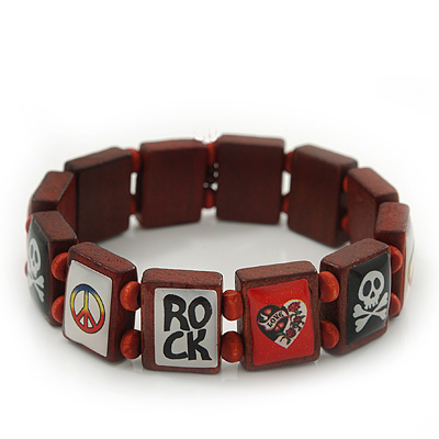 Brown Wood &#039;Heart, Rock, Peace &amp; Skull&#039; Flex Bracelet - up to 20cm Length