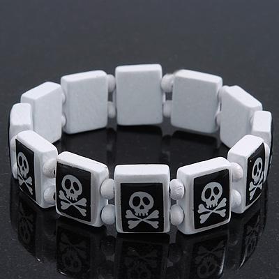 White/Black  Wood Flex 'Skull & Crossbones' Bracelet - up to 20cm Length