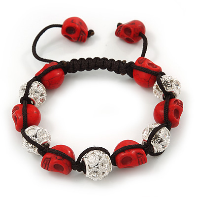 Red Skull Shape Stone Beads & Crystal Balls Shamballa Bracelet - 11mm diameter - Adjustable