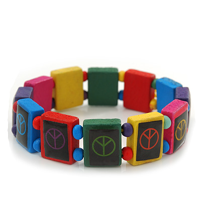 Multicoloured Wooden 'Peace' Flex Bracelet - Adjustable