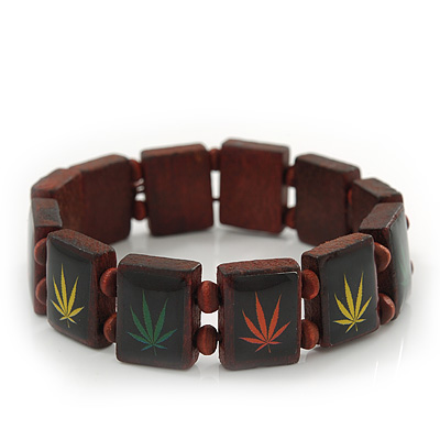 Brown Wooden 'Hemp Leaf' Stretch Bracelet - Adjustable