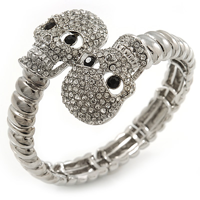 Clear Swarovski Crystal 'Double Skull' Flex Bracelet In Rhodium Plating - Adjustable