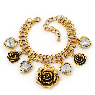Vintage &#039;Rose&amp;Heart&#039; Mesh Charm Bracelet In Burn Gold  Metal - 17cm Length/ 4cm Extension
