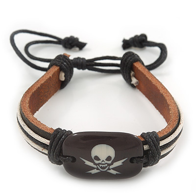Unisex Dark Brown Leather 'Skull' Friendship Bracelet - Adjustable