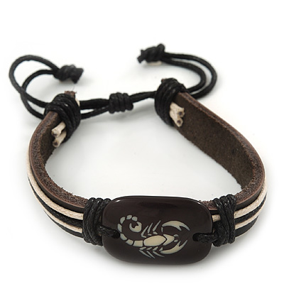 Unisex Dark Brown Leather 'Scorpio' Friendship Bracelet - Adjustable