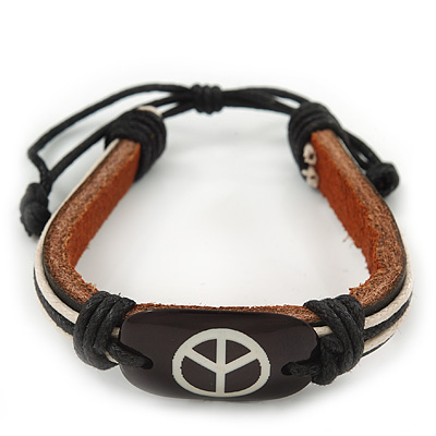 Unisex Dark Brown Leather 'Peace' Friendship Bracelet - Adjustable