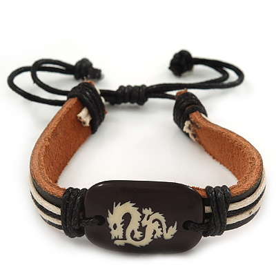 Unisex Dark Brown Leather 'Dragon' Friendship Bracelet - Adjustable