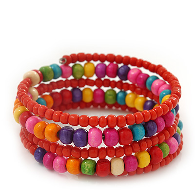 Teen&#039;s Brick Red Glass/ Multicoloured Wood Bead Multistrand Flex Bracelet - Adjustable
