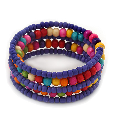 Teen's Blue Lilac Glass/ Multicoloured Wood Bead Multistrand Flex Bracelet - Adjustable