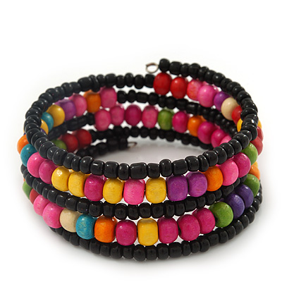 Teen&#039;s Black Glass/ Multicoloured Wood Bead Multistrand Flex Bracelet - Adjustable