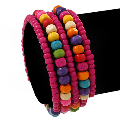 Teen&#039;s Magenta Glass/ Multicoloured Wood Bead Multistrand Flex Bracelet - Adjustable