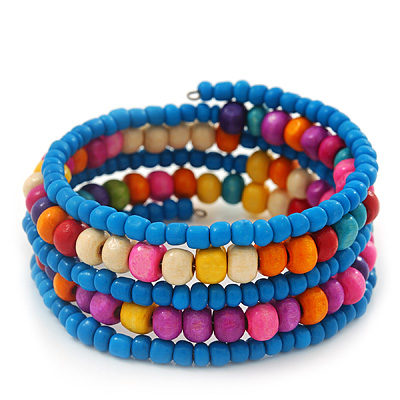 Teen&#039;s Light Blue Glass/ Multicoloured Wood Bead Multistrand Flex Bracelet - Adjustable