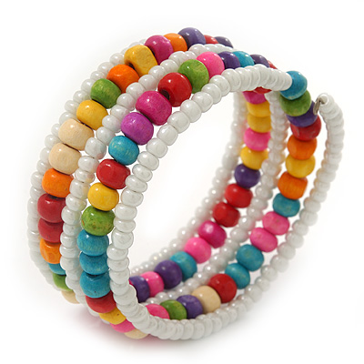 Teen&#039;s White Glass/ Multicoloured Wood Bead Multistrand Flex Bracelet - Adjustable