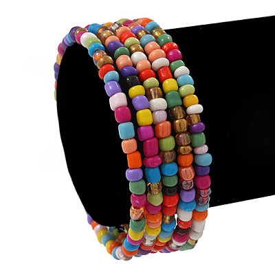 Teen&#039;s Multicoloured Glass Bead Multistrand Bracelet - Adjustable