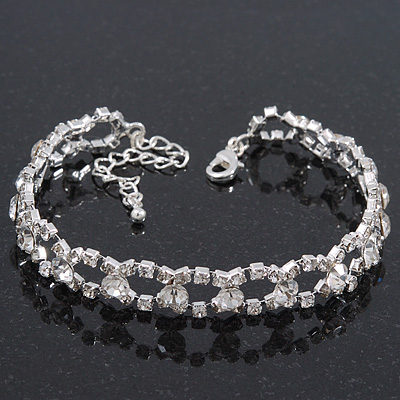 Classic Bridal Diamante Oval Link Bracelet In Rhodium Plated Metal - 17cm Length/ 5cm Extension
