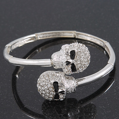 Clear Swarovski Elements 'Double Skull' Flex Bangle Bracelet In Silver Plating  - Adjustable
