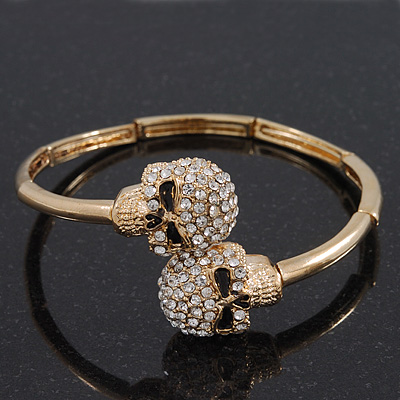 Clear Swarovski Crystal &#039;Double Skull&#039; Flex Bangle Bracelet In Gold Plating - Adjustable