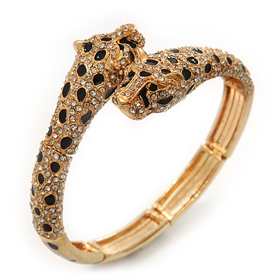 Gold Plated Swarovski Crystals 'Double Leopard' Flex Bangle Bracelet - Adjustable