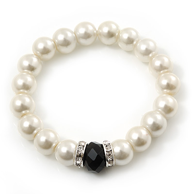 Classic Style Glass Pearl Stretch Bracelet with Black Faceted Acrylic Gem and Swarovski Crystal Detailing - 10mm diameter/ Up to 20cm Length