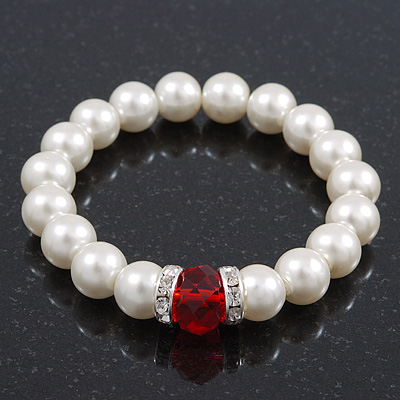 Classic Style Glass Pearl Stretch Bracelet with Red Faceted Acrylic Gem and Swarovski Crystal Detailing - 10mm diameter/ Up to 20cm Length