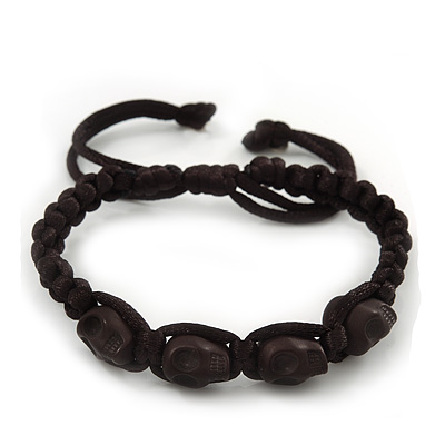 Black Acrylic 'Skull' Buddhist Bracelet - 11mm - Adjustable